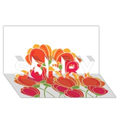 Orange Flowers  Sorry 3d Greeting Card (8x4) by Valentinaart