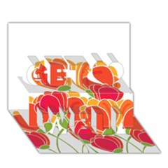 Orange Flowers  Get Well 3d Greeting Card (7x5) by Valentinaart