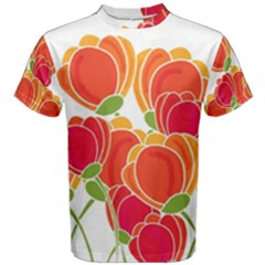 Orange Flowers  Men s Cotton Tee by Valentinaart