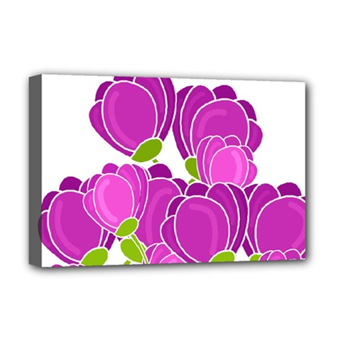Purple Flowers Deluxe Canvas 18  X 12   by Valentinaart