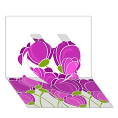 Purple Flowers Heart 3d Greeting Card (7x5) by Valentinaart