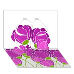 Purple Flowers Clover 3d Greeting Card (7x5) by Valentinaart