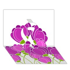 Purple Flowers Ribbon 3d Greeting Card (7x5) by Valentinaart