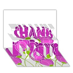 Purple Flowers Thank You 3d Greeting Card (7x5)