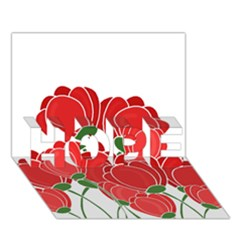 Red Floral Design Hope 3d Greeting Card (7x5) by Valentinaart