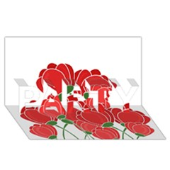 Red Floral Design Party 3d Greeting Card (8x4) by Valentinaart