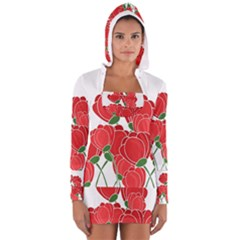 Red Floral Design Women s Long Sleeve Hooded T Shirt