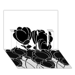 Black Flowers I Love You 3d Greeting Card (7x5) by Valentinaart