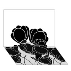 Black Flowers Circle Bottom 3d Greeting Card (7x5) by Valentinaart