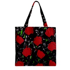 Red Roses Zipper Grocery Tote Bag