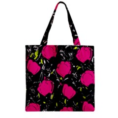 Pink Roses  Zipper Grocery Tote Bag by Valentinaart