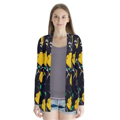 Yellow Roses 2 Drape Collar Cardigan by Valentinaart