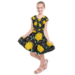 Yellow Roses 2 Kids  Short Sleeve Dress by Valentinaart