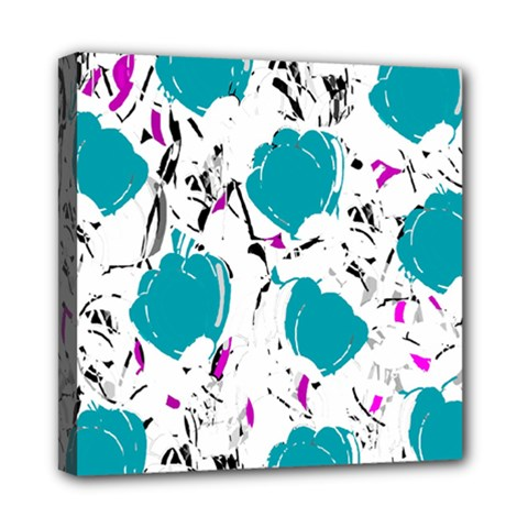Cyan Roses Mini Canvas 8  X 8  by Valentinaart