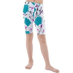 Cyan Roses Kids  Mid Length Swim Shorts by Valentinaart