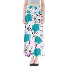 Cyan Roses Maxi Skirts by Valentinaart