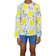 Yellow Roses 2 Kids  Long Sleeve Swimwear