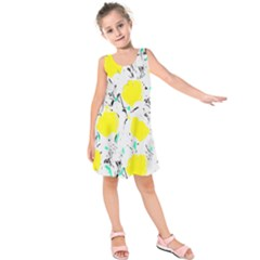 Yellow Roses 2 Kids  Sleeveless Dress by Valentinaart