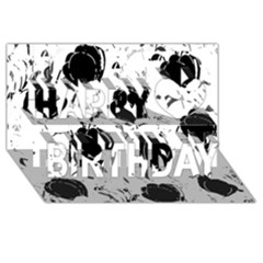 Black Roses Happy Birthday 3d Greeting Card (8x4) by Valentinaart