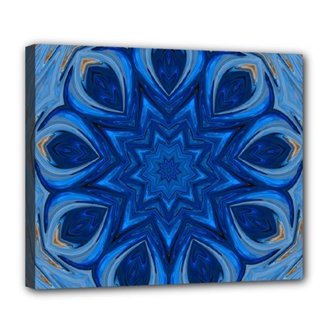 Blue Blossom Mandala Deluxe Canvas 24  X 20   by designworld65