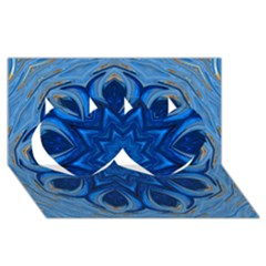 Blue Blossom Mandala Twin Hearts 3d Greeting Card (8x4) by designworld65