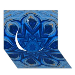 Blue Blossom Mandala Circle 3d Greeting Card (7x5) by designworld65