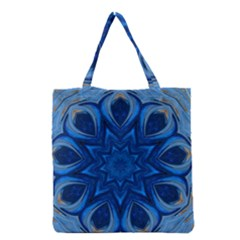 Blue Blossom Mandala Grocery Tote Bag by designworld65