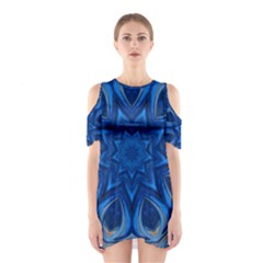 Blue Blossom Mandala Cutout Shoulder Dress by designworld65