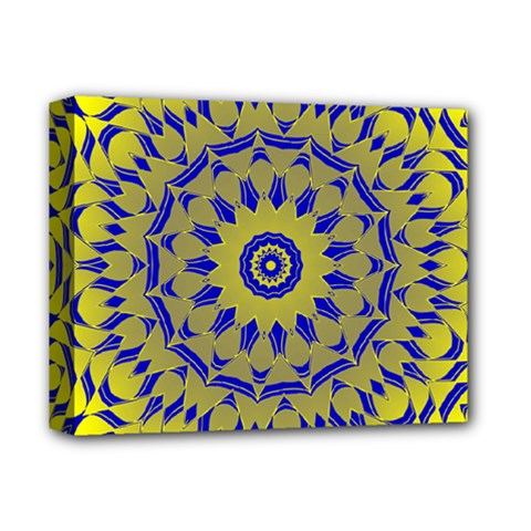 Yellow Blue Gold Mandala Deluxe Canvas 14  X 11  by designworld65