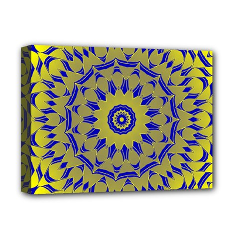 Yellow Blue Gold Mandala Deluxe Canvas 16  X 12