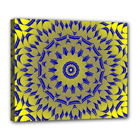 Yellow Blue Gold Mandala Deluxe Canvas 24  X 20   by designworld65
