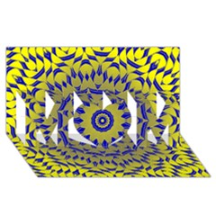 Yellow Blue Gold Mandala Mom 3d Greeting Card (8x4) by designworld65