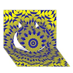 Yellow Blue Gold Mandala Heart 3d Greeting Card (7x5)