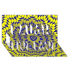 Yellow Blue Gold Mandala Laugh Live Love 3d Greeting Card (8x4) by designworld65