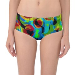 Colorful Smoothie  Mid-waist Bikini Bottoms by Valentinaart