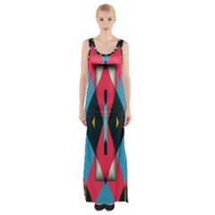 Triangles Stripes And Other Shapes                                                                                                         Maxi Thigh Split Dress by LalyLauraFLM