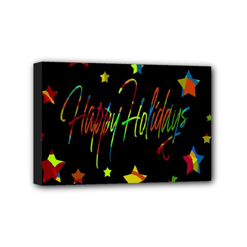 Happy Holidays Mini Canvas 6  X 4  by Valentinaart