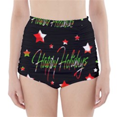 Happy Holidays 2  High-waisted Bikini Bottoms by Valentinaart