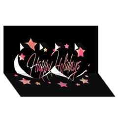 Happy Holidays 3 Twin Hearts 3d Greeting Card (8x4) by Valentinaart