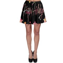 Happy Holidays 3 Skater Skirt by Valentinaart