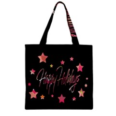 Happy Holidays 3 Zipper Grocery Tote Bag