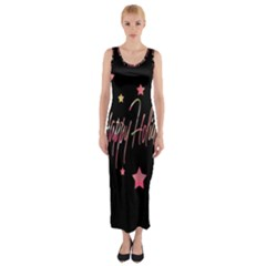 Happy Holidays 3 Fitted Maxi Dress by Valentinaart