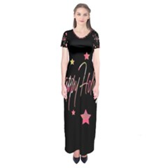Happy Holidays 3 Short Sleeve Maxi Dress by Valentinaart