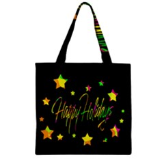 Happy Holidays 4 Zipper Grocery Tote Bag by Valentinaart
