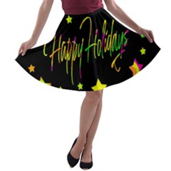 Happy Holidays 4 A-line Skater Skirt by Valentinaart