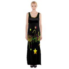 Happy Holidays 4 Maxi Thigh Split Dress by Valentinaart