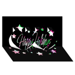 Happy Holidays 5 Twin Hearts 3d Greeting Card (8x4)