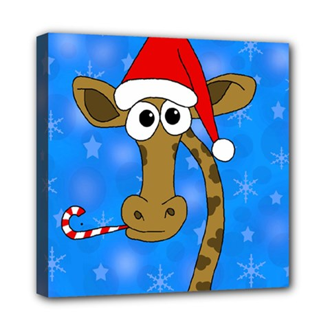 Xmas Giraffe   Blue Mini Canvas 8  X 8  by Valentinaart