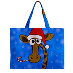 Xmas Giraffe   Blue Mini Tote Bag