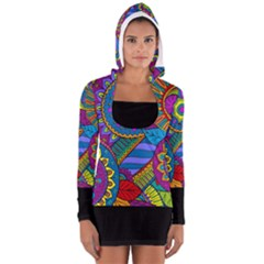 Background Color Solid Black Women s Long Sleeve Hooded T-shirt by EDDArt